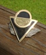 Vintage Trifari Art Deco Black Enamel Geometric Pin Brooch, Circle Triangle - $50.00