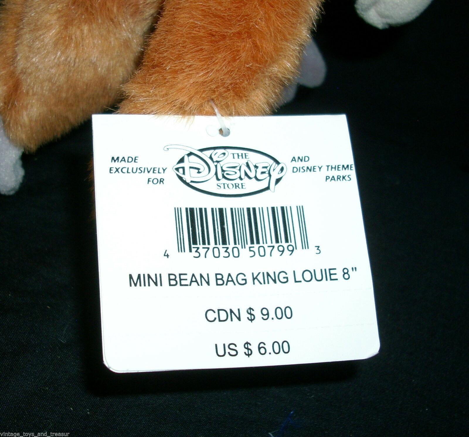 "8"" DISNEY STORE KING LOUIE JUNGLE BOOK MONKEY STUFFED ANIMAL PLUSH TOY BEAN BAG"