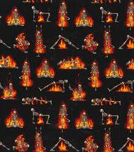 BTY Fabric Traditions Skeleton HOT YOGA Print 100% Cotton Quilt Fabric Yard - $10.00