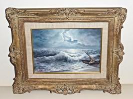 WALTER ERES 20TH CENTURY AUSTRIAN ARTIST ROUGH SEA OIL ON BOARD - $249.00