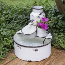 Outdoor Sitting Garden Fountain in distressed White Tin - $179.99