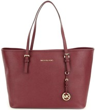 Michael Kors Jet Set Travel Medium Multifunction Leather Tote Merlot New... - $163.65