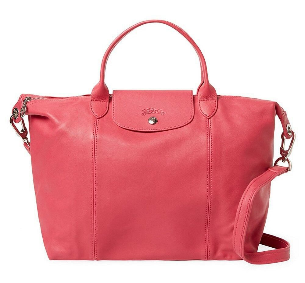Primary image for NEW LONGCHAMP Le Pliage Cuir Medium Leather Satchel Bag PEONY Pink $600 AUTHENTC