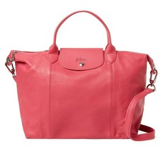 NEW LONGCHAMP Le Pliage Cuir Medium Leather Satchel Bag PEONY Pink $600 ... - $398.00