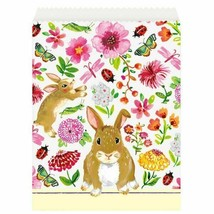 Floral Easter Bunny Paper Treat Goodie Favor Bags 8 Ct Butterfly Flowers - $3.85