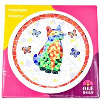 """Ole Mosaic Colorful Printed Cat Kitten & Butterflies Design 4.25"""" Round Coaster image 3"""