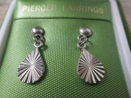 Vintage Silver Toned Dainty Starburst Tear Drop Dangle Pierced Earrings - $16.79