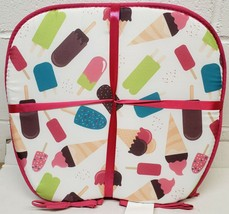 """Set of 4 CHAIR PADS CUSHIONS w/pink ties,15"""" x 15"""", ICES & ICE CREAM BAR... - $23.75"""