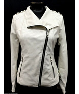 GUESS JACKET ZIP FRONT FAUX LEATHER MOTO PERFORATED J SCUFFY WHITE SIZE ... - $69.99