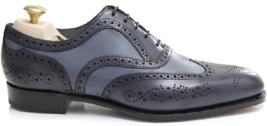 Handmade Men's Black and Gray Leather Wing Tip Brogues Dress Formal Oxford S image 3