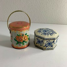 Lot of 2 Vintage Cookie Biscuit Tins Metal Murry Allen Roses Made in Eng... - $14.85