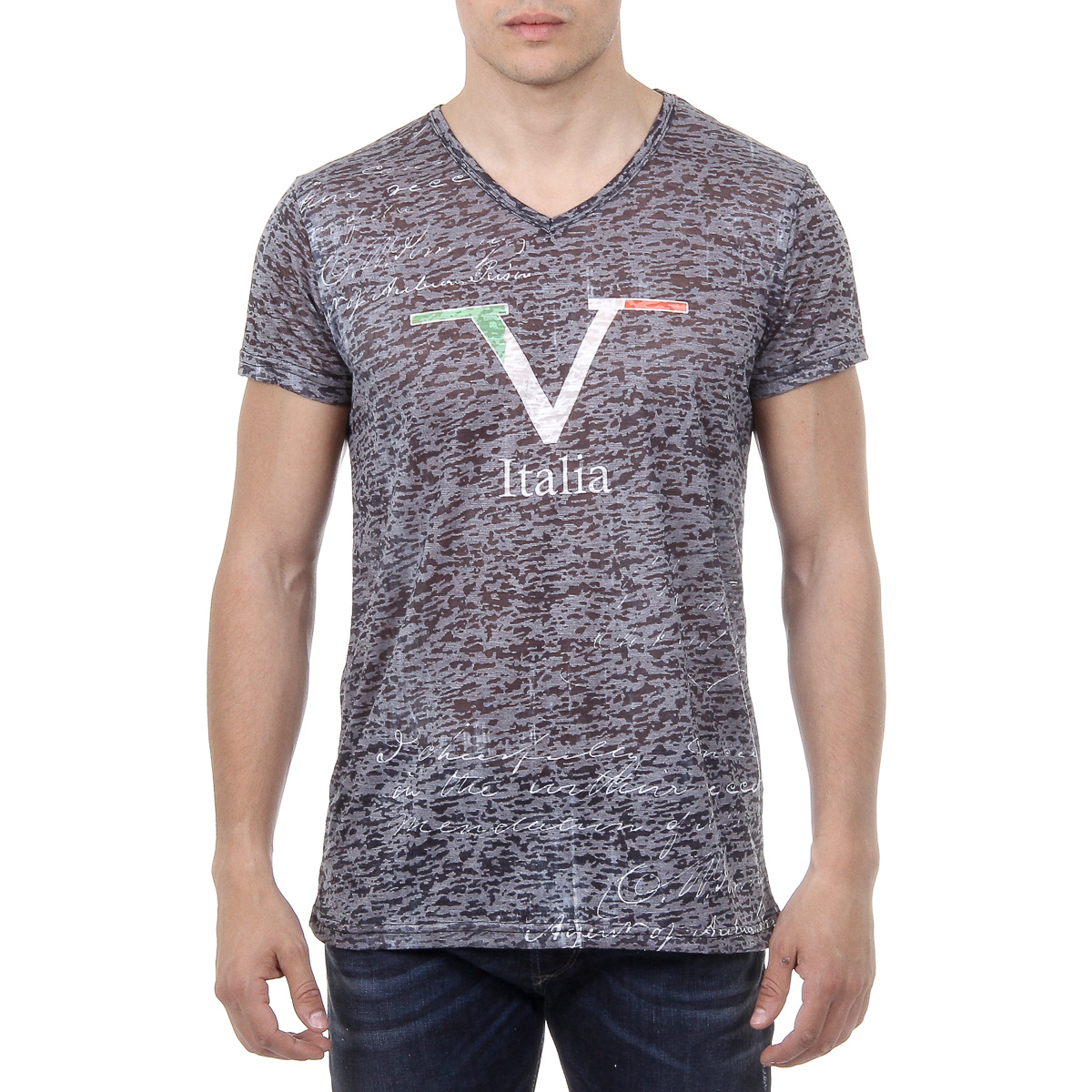 Primary image for V 1969 Italia Mens T-shirt Short Sleeves V-Neck Black JACOB