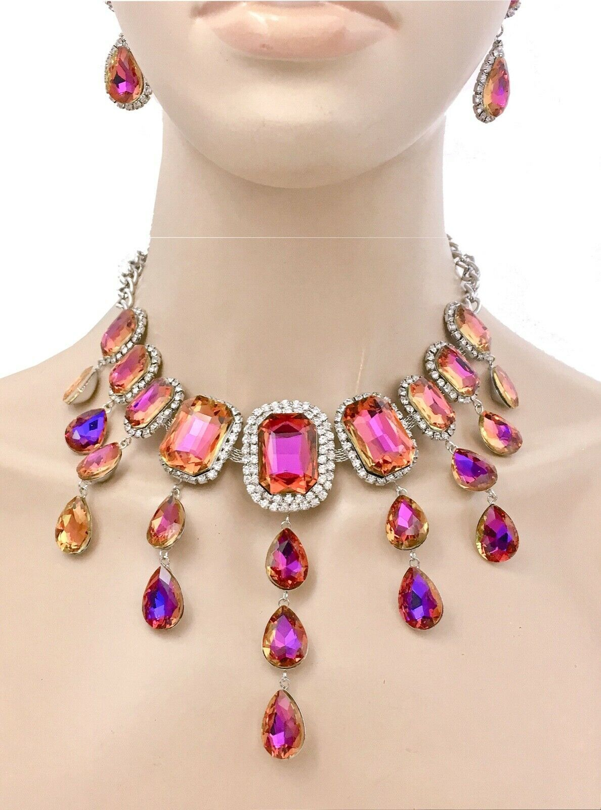Primary image for Statement Necklace Earrings Iridescent Tangerine/Purple Crystal Pageant Party