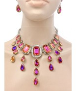 Statement Necklace Earrings Iridescent Tangerine/Purple Crystal Pageant ... - $41.80