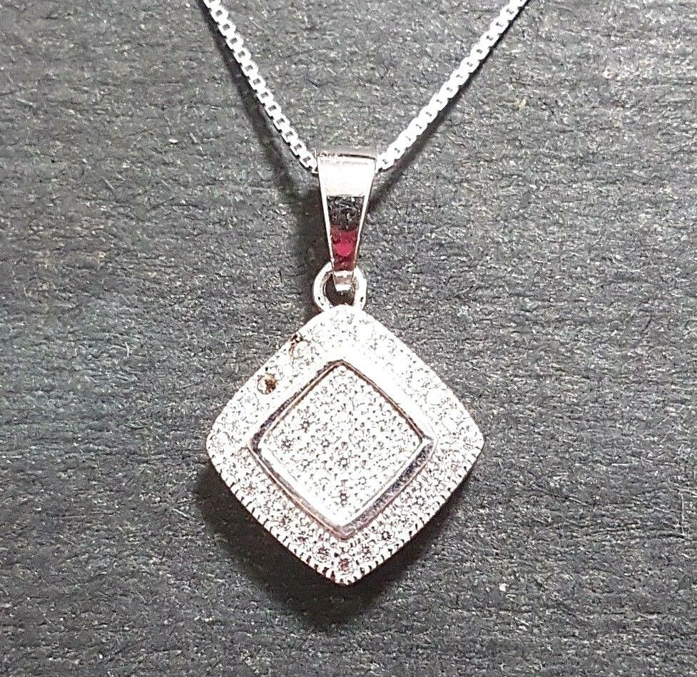 Primary image for New 14k White Gold On 925 Diamond-Shape Overlap Pendant Charm with free chain