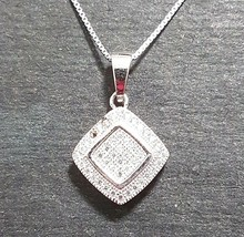 New 14k White Gold On 925 Diamond-Shape Overlap Pendant Charm with free ... - $30.19