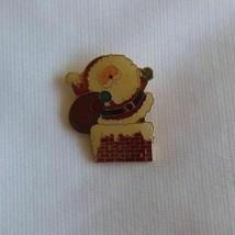 Vintage Centennia 1980 Enamel Santa Claus Going Down Chimney Brooch/Pin - $12.37