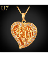 Necklaces Classic Allah pendant Platinum /18K Real Gold Plated Crystal H... - $35.90