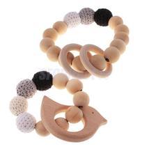 2pcs Organic Wood Beads Infant Teether Nursing Toy with Ring Bird Pendant - $17.09