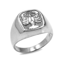 Sterling Silver Cancer Mens Zodiac Sign Ring - £35.86 GBP