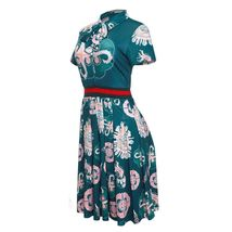 Casual Bow Tie Fit Flare Knee Length Green Short Sleeve Dress SMALL image 5