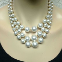 Vintage, Multi-Layer 3-Strands, Graduated Faux Pearl Beaded 16-inch Neck... - $11.35