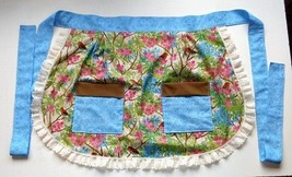 Apron Half Apron Birds in Trees pattern Blues Green Brown with lace  2 p... - $9.41