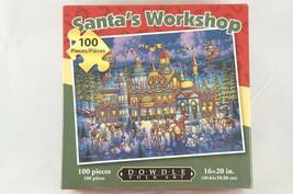 "Santas Workshop Christmas Jigsaw Puzzle 100 Pcs Dowdle Folk Art 16 X 20""... - $9.28"