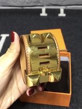 Authentic Hermes Camel Beige CDC Collier De Chien Leather Gold Bracelet Cuff PM image 2