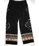 Womens Worth New York $498 12 USA Print Silk Pants Black Brown Wide Ethn... - $199.20