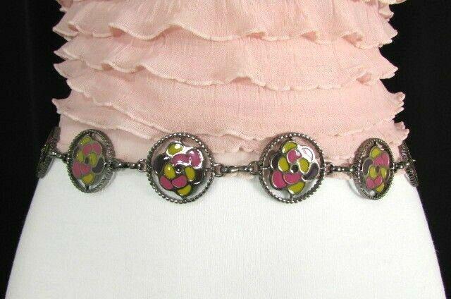 Damen Zinn Metall Bling Gürtel Gelb Rosa Blume Anhänger Hüfte Taille S M L