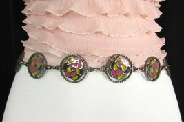 Damen Zinn Metall Bling Gürtel Gelb Rosa Blume Anhänger Hüfte Taille S M L image 1