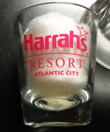 Primary image for Harrahs Resort Atlantic City Shot Glass Clear Glass with Bright Red Print