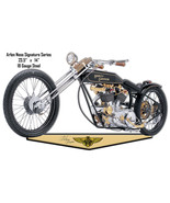Black And Gold Arlen Ness Reproduction Motorcycle Cut Out Metal Sign 14x... - $26.73