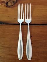 Pair 2 Vintage Silverplate WMF 90 Leaf Flroal Dinner Forks Antique Flatw... - $39.99