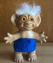 "Vintage Troll Doll Wishnik Uneeda 1960s - White Hair Blue Clothes 6"" - $29.70"