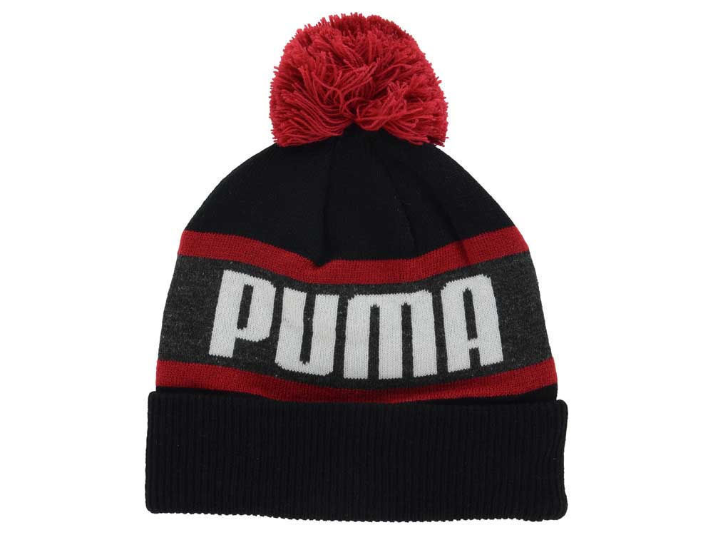 Puma Branded Wording Black & Red Cuffed Knit Pom Pom Winter Hat Beanie Toque