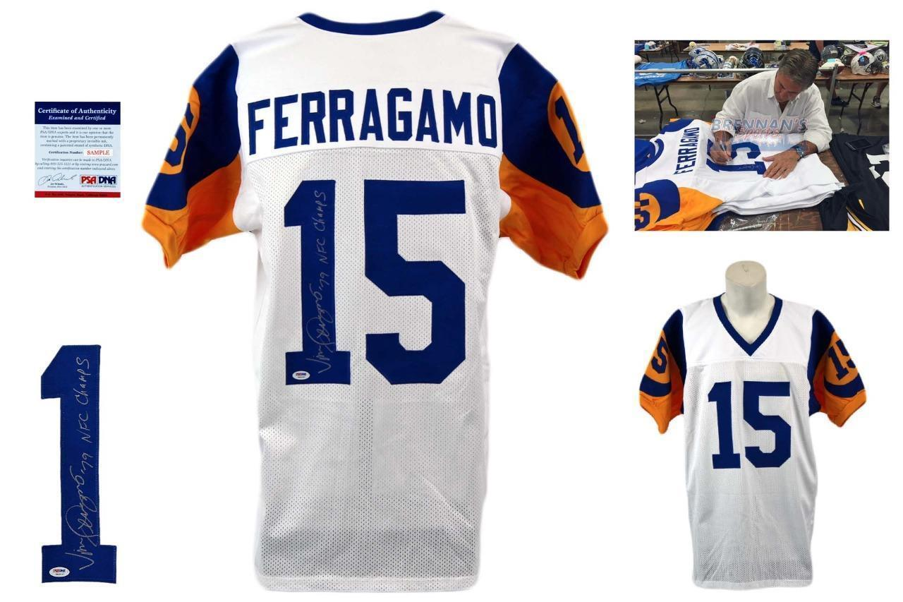 5706328364f Vince Ferragamo SIGNED Jersey - PSA DNA - LA Rams Autographed w  PHOTO -  White