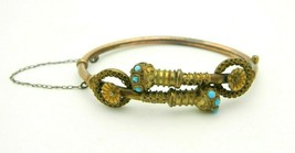 Antique Gold Filled Bypass Bangle Bracelet Turquoise Ornate Safety Chain - $346.49
