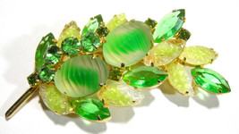 VINTAGE JULIANA RHINESTONE LAVA ROCK GIVRE GLASS GREEN YELLOW BROOCH PIN - $115.00