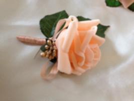 Simple Peach Rose Boutonniere - $4.25