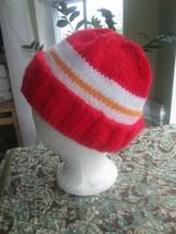 Kansas City Chiefs Fan Hat Red White Orange Beanie Acrylic Double Knit H... - $29.00