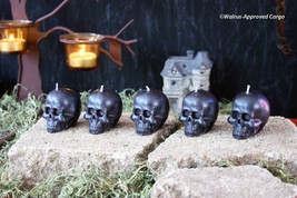 Pottery Barn Mini Skull Candles (5) -NIB- Make Light Of Ghoulish Halloween Fun! - $29.95