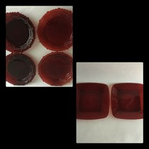 "Avon Plates 1876 Cape Cod Collection Ruby Red (4) Pie 7.5"" & (2) Square ... - $18.02"
