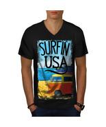 Surfin USA Poster Shirt Summer Beach Men V-Neck T-shirt - $12.99+