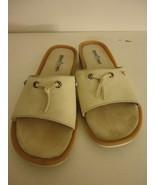Minnetonka Beige Leather slip on Womens Size 8 M Slides Sandals - $24.74