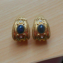 Vintage Avon Designer Gold-tone Blue Cab & Rhinestone Pierced Earrings - $32.18
