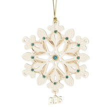 Lenox 2016 Gemmed Snowflake Ornament Annual Green Gold Crystals Christma... - $31.58