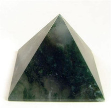 Energized Blessed Reiki Healing,Pyramid Green Moss Agate, Heart Chakra Pyramid,  - $29.99