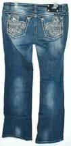 Miss Me Women's Fleur de Lis Mid-Rise Easy Boot Cut Blue Denim Jeans Size 30 image 2